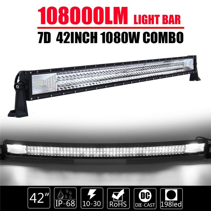 Curved TRI ROW 42Inch 1080W Combo LED Work Light Bar Offroad Lamp Car Headlight Bar Black