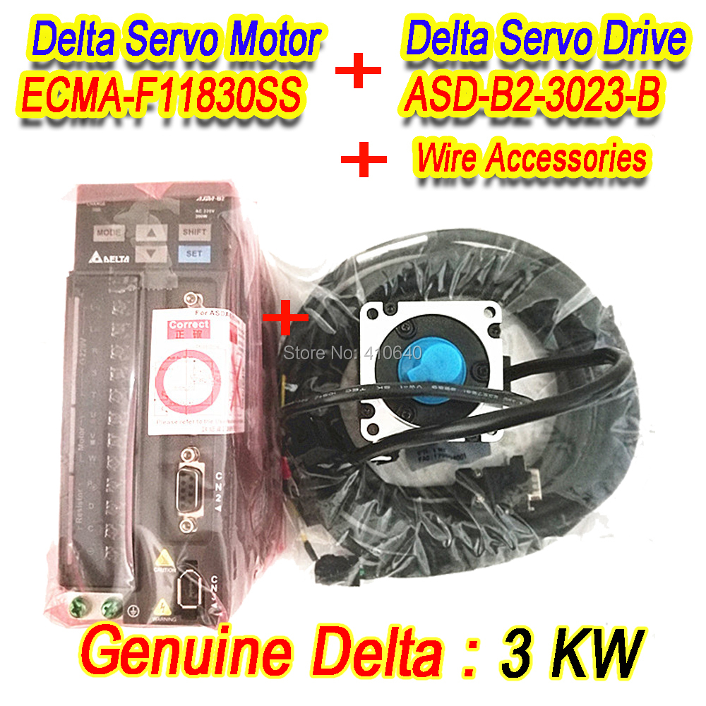 все цены на Genuine Delta AC Servo Motor 3 KW ECMA-F11830SS with Brake and Delta AC Servo Motor Drive ASD-B2-3023-B FREE SHIPPING by DHL онлайн