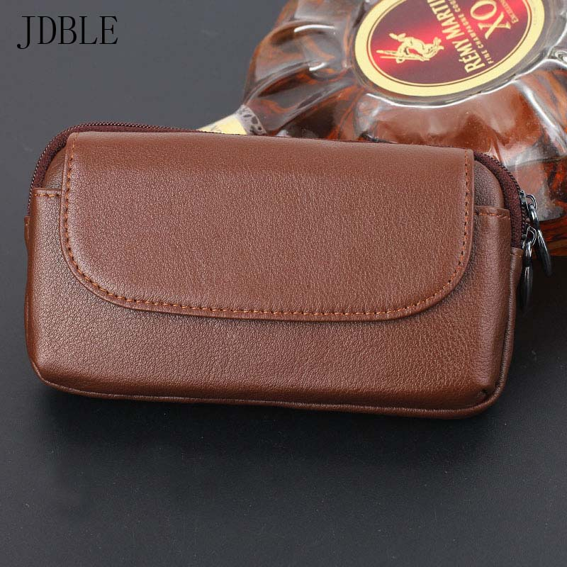 JDBLE Multi Phone Model Pouch Holster Bag Genuine Leather Waist Bag Hanging Mobile Phone Case Double Double Zipper Head JS0489