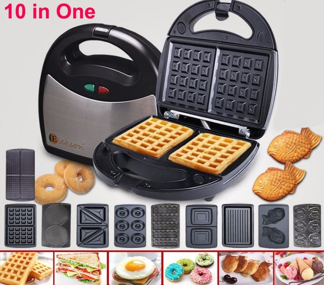 free portable waffle maker 10 in 1 waffle plate multifunctional sandwich maker donut maker. Black Bedroom Furniture Sets. Home Design Ideas