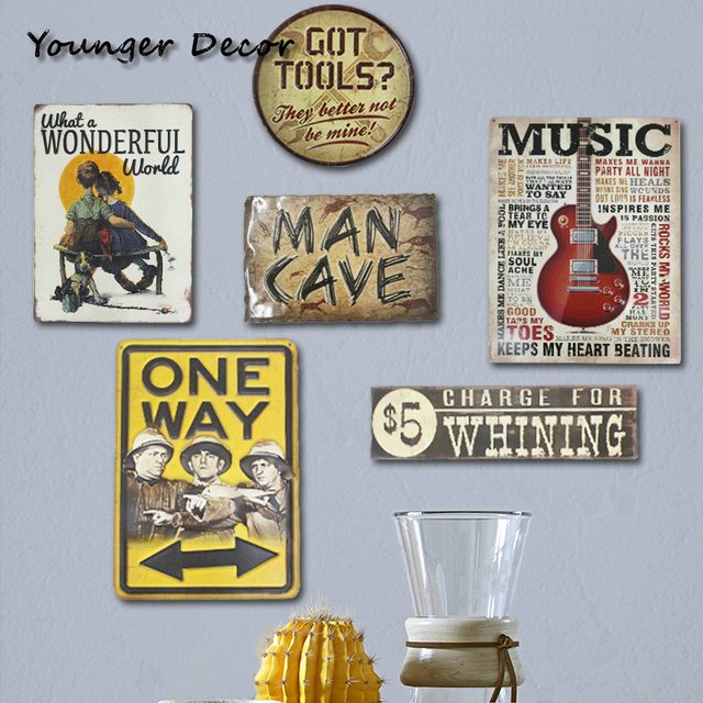 One Way Signpost Vintage Home Decor Man Cave Signs Wall Art Painting Retro Sheet Metal Plate
