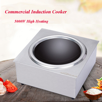 Commercial Induction Cooker Stainless Steel Concave Cooker Knob Tabletop Stove Restaurant Frying Furnace 5000W