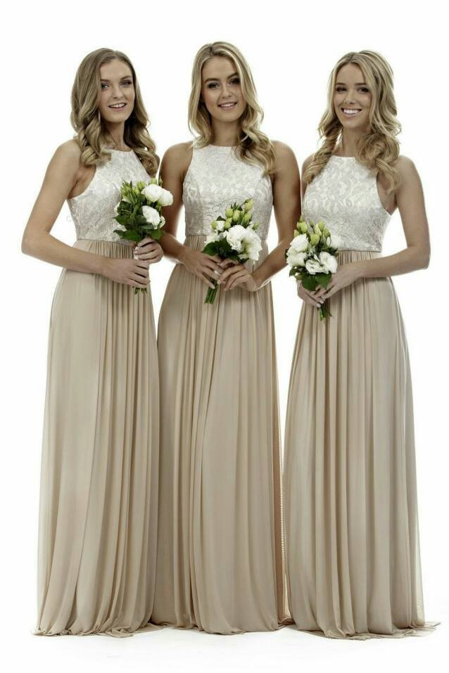 Elegant High Neck Champagne Long Bridesmaid Dresses Lace Chiffon 2017 Best Ing Gowns Vestidos De Dama Honor In From