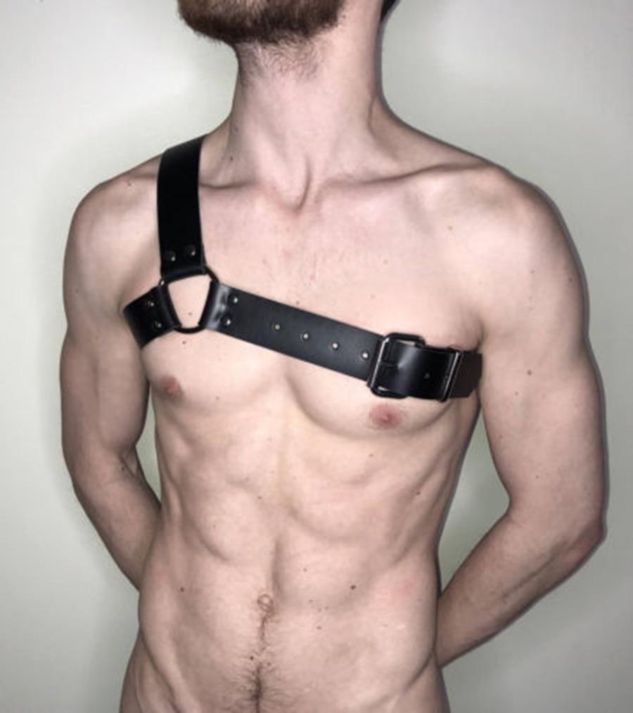 Men Body Harness Faux Leather Chest Armor Buckles Cosplay Clubwear Nightwear, One Shoulder Lingerie