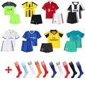 Crianças 2016/17 10 Messi Início de Futebol Kits de Futebol Camisa Terno E meias de futebol treino sportwear crianças fãs 7 traje para os meninos 3-15Yrs