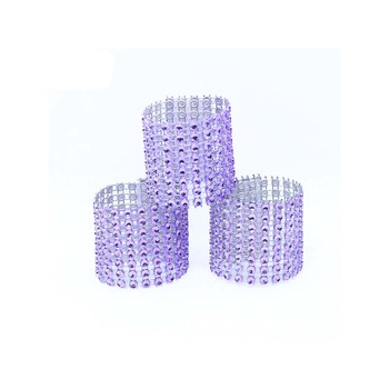 500Pcs/Lot Plastic Rhinestone Wrap Purple Napkin Ring New Napkin Rings Chair Buckle Hotel Wedding Supplies Home Talbe Decoration