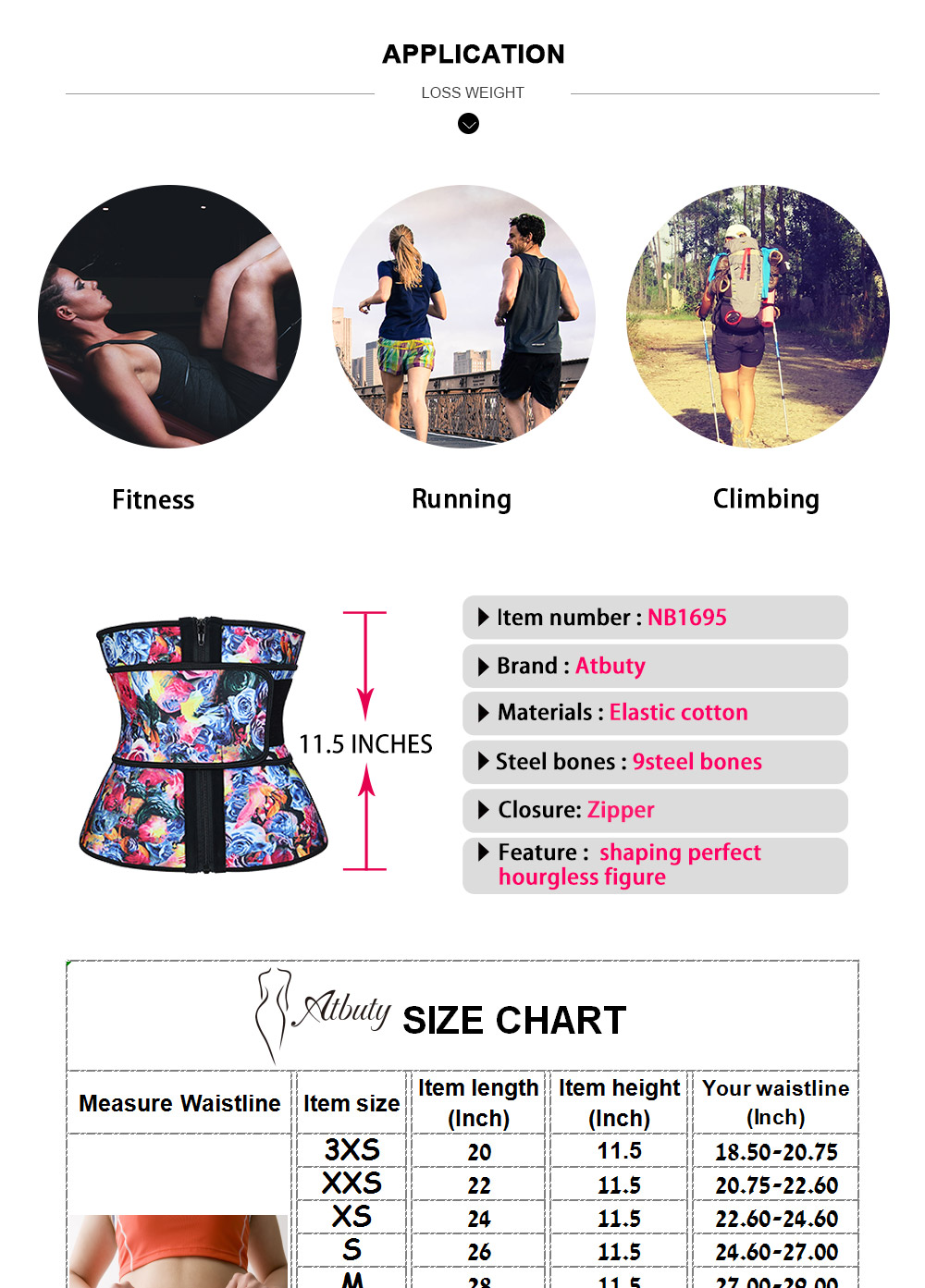 NB1695-2 Atbuty High Compression Waist Trainer Cincher Zipper Rose Printing Tummy Lose Weight Latex Body Shapers Corsets (4)