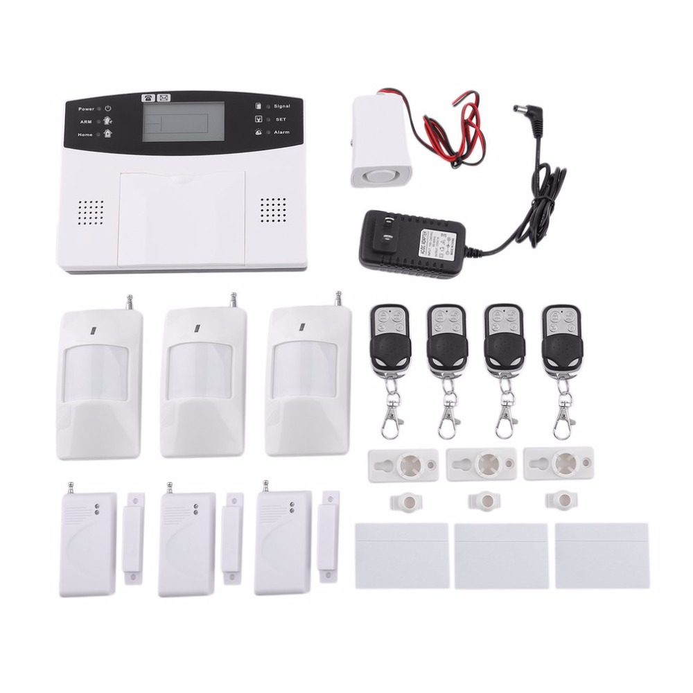 18pcs Home Security Alarm System kits 433Mhz Wireless GSM SMS Home Burglar Security Alarm System Detector Sensor Call Promotions yobang security 30a home security wireless alarm system gsm home burglar alarm kits new version pir infrared gsm sms alarm
