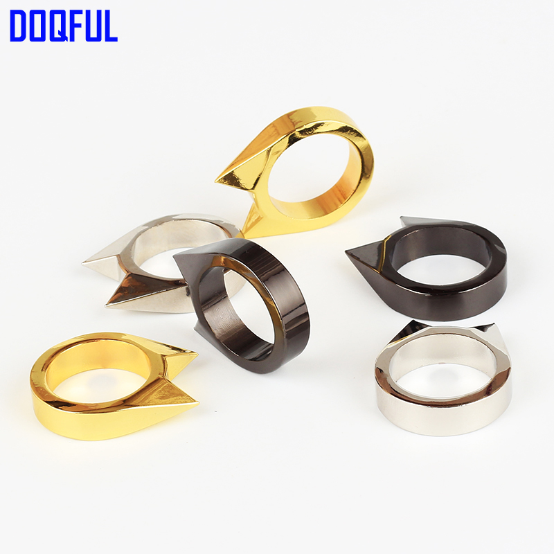 Wholesale Survival Emergency Finger Ring 150pcs/lot Outdoor Safety Protection Female Woman Self Defense Stainless Steel Breaker