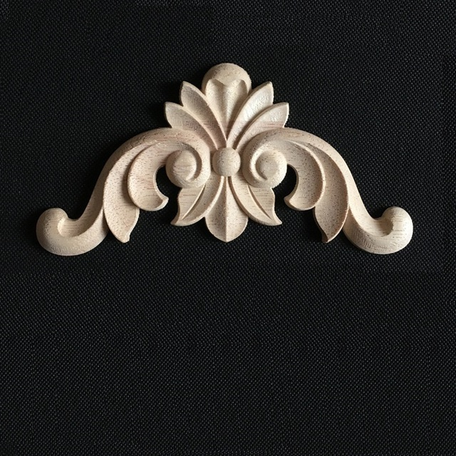 ECM#3 Solid Wood Applique European Background Wall Drawer Door Wardrobe Furniture Accessories Decorative Carved Piece