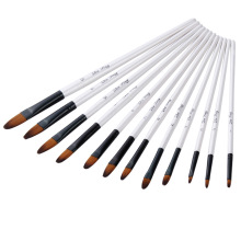 цена на 12PCS Nylon Hair Wooden Handle Watercolor Paint Brush Pen Set For Learning Diy Oil Acrylic Painting Art Paint Brushes Supplies