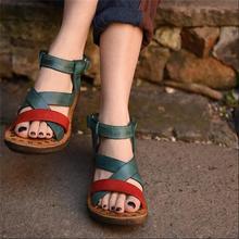 2017 genuine leather sandals handmade women shoes color block bandage decoration open toe flat sandals comfortable casual shoes