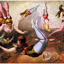 Póster de circo Vintage para mujer, cuadros de lienzo clásicos de trapecio, pósteres de pared, pegatinas para decoración del hogar, regalo