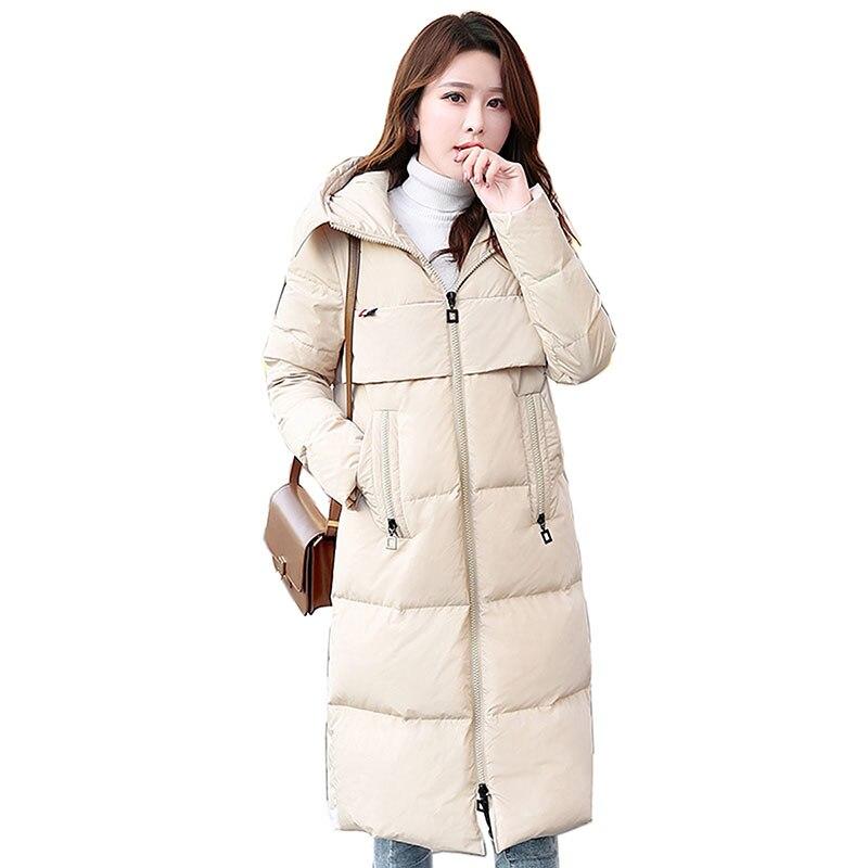 2018 New Winter Jacket   Coat   Women White Duck   Down     Coat   Hooded Thick Warm Women Jacket Long Plus Size Parka Female Outwear