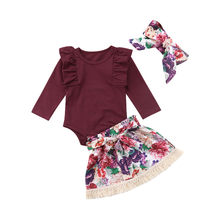 Sweet Toddler Baby Girls Floral Solid Ruffles Tops Romper Print Skirts Headband Outfits Clothes Set0-24M(China)