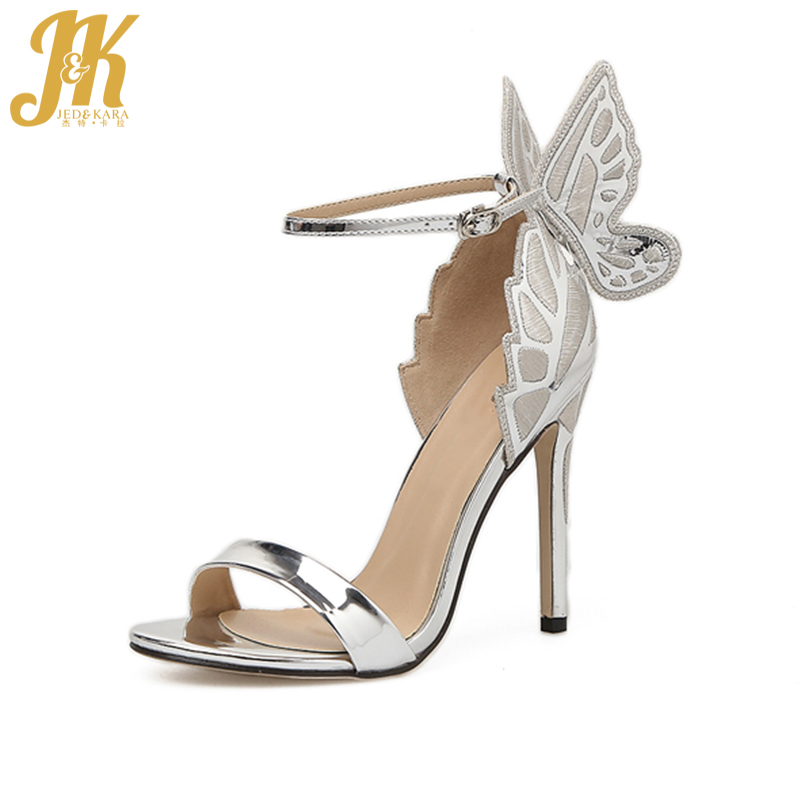 JK 2018 Sexy Women Sandals Butterfly Thin High Heels Shoes Woman Summer Footwear for Lady Open toe Dress Shoes Party Size 35-40 covibesco nude high heels sandals women ankle strap summer dress shoes woman open toe sandals sexy prom wedding shoes large size