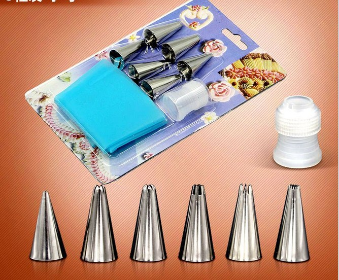 8pcslot Reusable Piping Pastry Bag Stainless Steel Nozzle Set Icing Piping Tubes Bakeware Cake Dessert Decorators Tools ELB 149