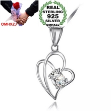 OMHXZJ Wholesale NO Chain Necklace kpop Fashion jewelry love heart AAA zircon 925 sterling silver star woman pendant Charms PE26