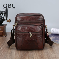 QiBoLu Cow Mens Genuine Leather Bags Flap 2018 Travel Business Messenger Bag Men Crossbody Casual Solid Zipper Shoulder Handbags