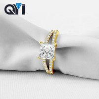 QYI Classic Real 14K Solid Yellow Gold Split Band Engagement Ring Sona Simulated Diamond Wedding Bands For Women