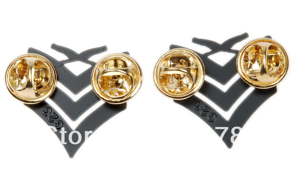 PAIR OF US USMC MARINE CORPS SERGEANT INSIGNIA RANK METAL BADGE PIN BLACK-1163