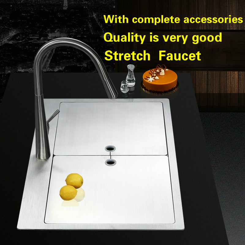 Free shipping Standard luxurious kitchen manual sink single trough durable food-grade 304 stainless steel  hot sell 75x48x25  CM free shipping food grade 304 stainless steel hot sell kitchen sink double trough 0 8 mm thick ordinary 78x43 cm