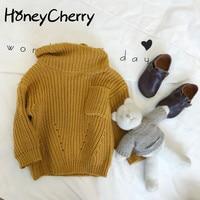 Kids Girls Sweater Head Winter Children Baby Knitted Turtlenecks Korean Long Sleeved Girls Winter Sweaters