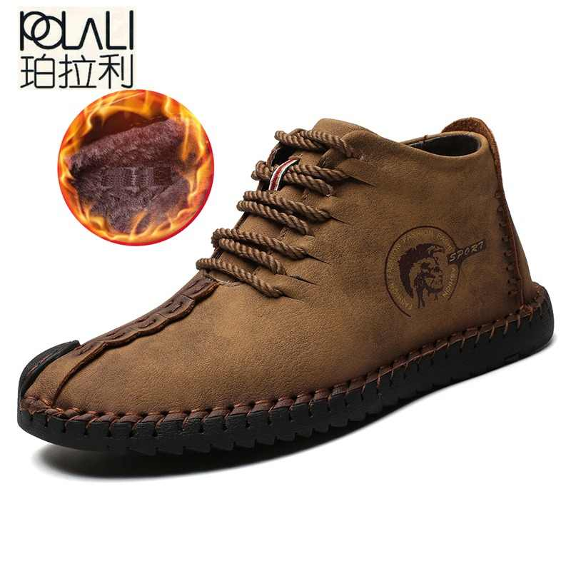 POLALI Keep Warm Winter Men Boots High Quality Split Leather Casual Men  Shoes with Plush Fahsion df6c2ff72873