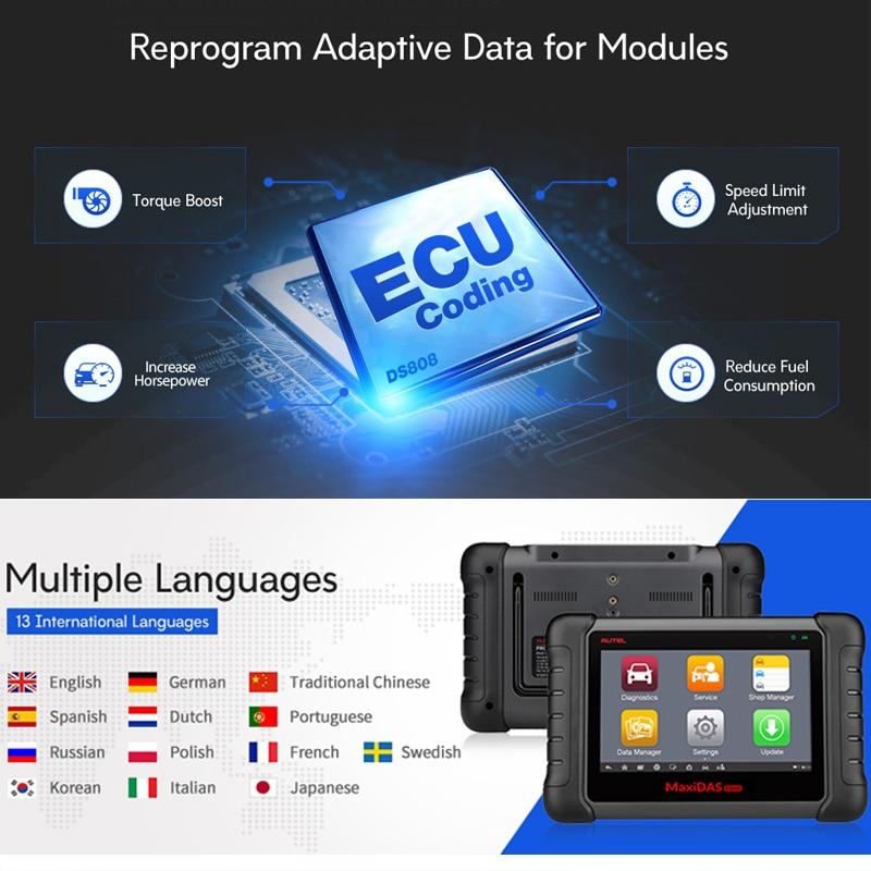 Image 4 - Autel Maxidas DS808 OBD2 сканер автомобильный диагностический инструмент OBDII тестер OBD Инжектор Кодирование ключа кодирование код считыватель PK MS906-in Анализатор двигателя from Автомобили и мотоциклы