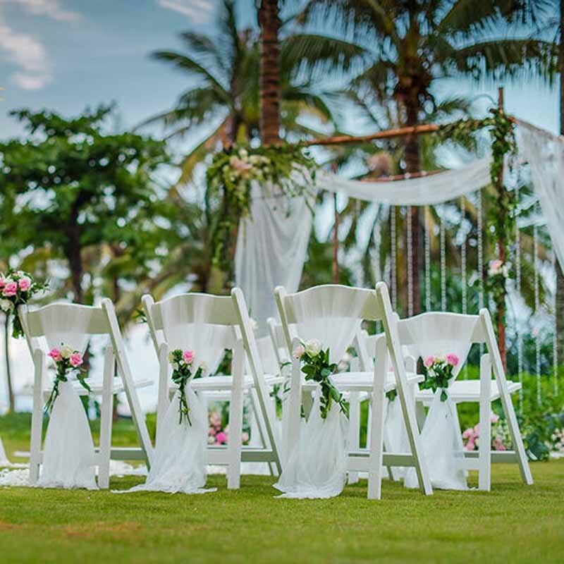 garden chair party wedding bridal shower engagement beach events outdoor organza tie decoration bow banquet sashes supplies decorations diy