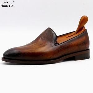 Image 2 - Cie patine en cuir de veau marron à bout rond pour hommes, mocassins respirants, fait à la main, LO04