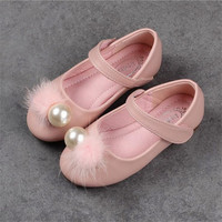 Pretty Pearl Flowers Girl Leather Shoes For Girls Party Dance Children Shoes Princess Platforms Child Wedding
