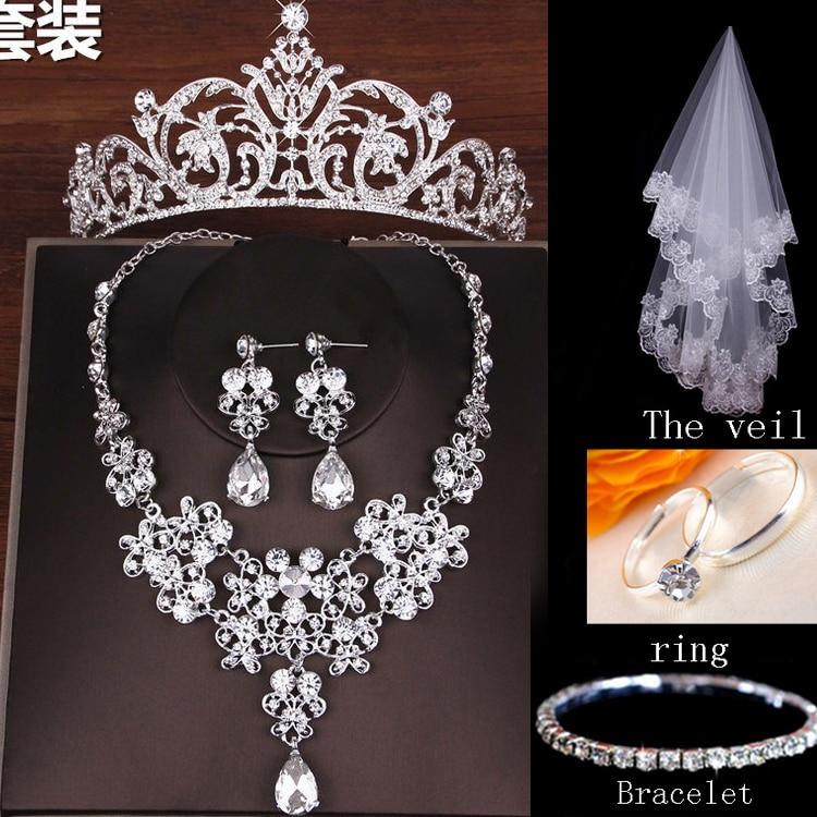 Moda de Luxo Strass Casamento Conjuntos De Jóias de Noiva Casamento Jóias Acessórios de Noiva Tiara Colar Brinco de Noiva Coroas (11)