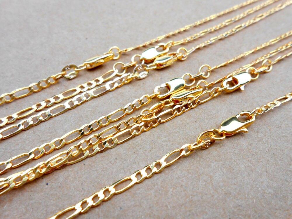 5 шт 16-30 дюймов ювелирных изделий Золотое наполнение 2,5 мм Фигаро цепи ожерелье оптовая продажа