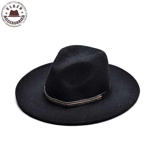 a4cb3ecf3ccb9 Online Shop ULGEN Vintage Winter wool hat mens black fedora hat womens Jazz  wool panama hats large brim fedoras with gold band