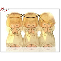 Three Little Angels Diamond Painting Cross Stitch 40 30cm Diamond Mosaic Embroidery Angel Picture Pastes Wall