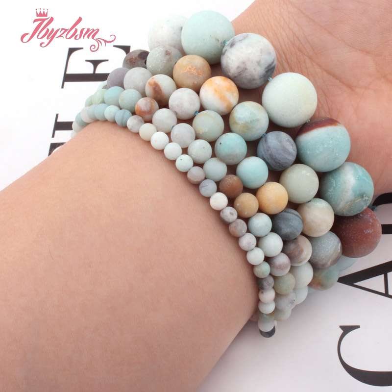 4,6, 8,10mm Multicolor Frost Putaran Amazonite Bead Batu Alam Beads - Perhiasan fashion - Foto 5