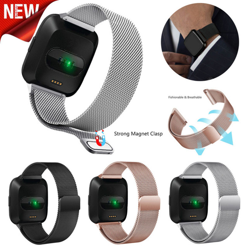 2018 new for Fitbit Versa Band Milanese loop Stainless Steel Strap Replacement Bracelet for Fitbit Versa Smart Watch smart watch usb charging box cable for fitbit versa