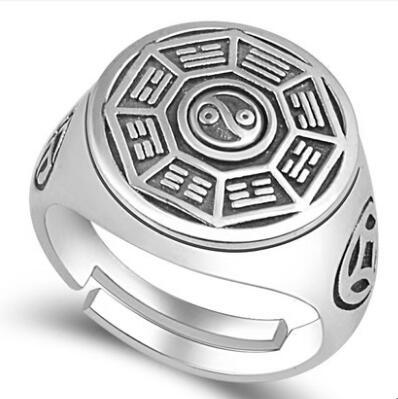 990 argent bonne chance bague véritable argent pur Fengshui Bagua symbole anneau Taichi symbole tournant anneau
