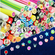 LF 50pcs 3D Nails Art Tips Fimo Flower Feather Fimo Canes Stick Rods Polymer Clay Cut Into Slices For Slime Supplies Sticker Diy 3 50pcs pack cute art manicure fimo polymer clay canes sticks rods diy decoration for nail art animal flower for design beauty