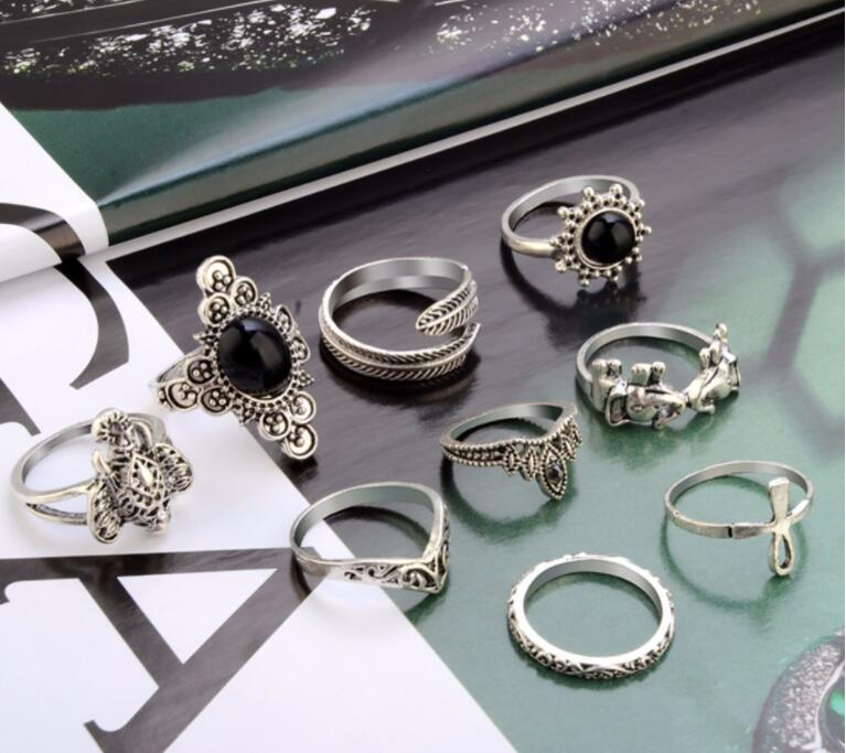 9 Pcs=1 Set Vintage Crystal Elephant Feather Cross Crown Ring Geometric Joint Knuckle Finger Rings Jewelry Accessories Gift