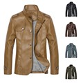 Mens Autumn winter Business leisure Top Designed Faux Leather Jacket Coat 402