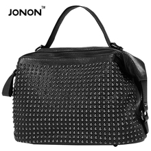 Jonon Famous Designer Brand Women Leather Handbags Genuine Studded Ladies Handbags Rivets Cross Body Shoulder Bag For Women