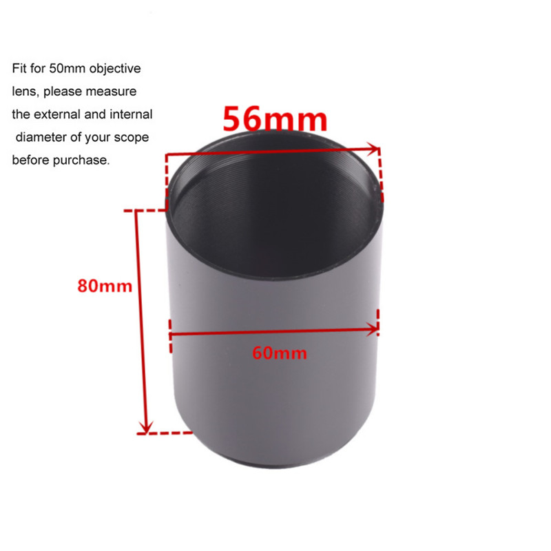 Hunting Metal Aluminum Alloy Optic Sunshade Shade for Rifle Scope 50mm AOE Objective Lens