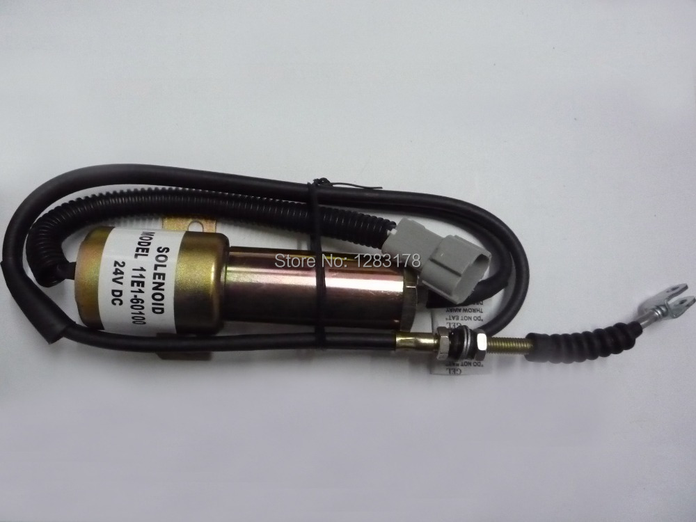 R210 Fuel Shutdown Solenoid Valve 11E1-60100-24 (24V 120CM wire) 3924450 2001es 12 fuel shutdown solenoid valve for cummins hitachi