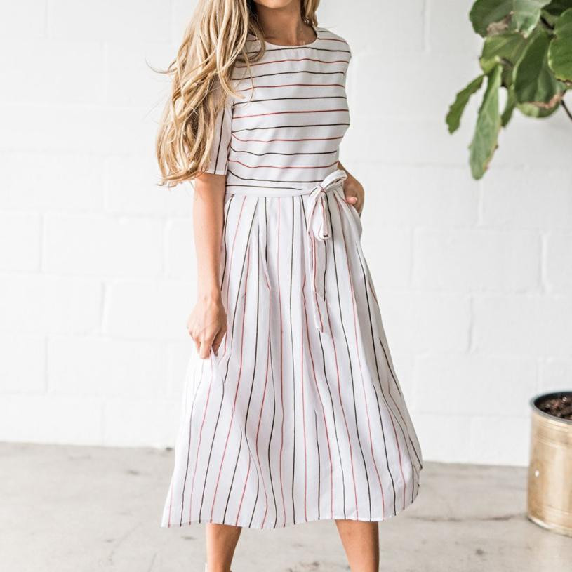 2018 Womens Striped Dress Short Sleeve Casual Dresses With Pockets O Neck Ladies Bow Waist Summer Drss #10