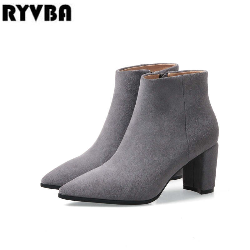 RYVBA Women suede Genuine leather pointed toe Ankle boots womens Autumn winter boots 2018 Woman fashion square high heels shoes 1