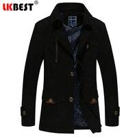 LKBEST 2018 Winter jacket men Fashion slim mens trench coat 100% Cotton Men Windbreaker Thick mens overcoat outerwear (FY17)