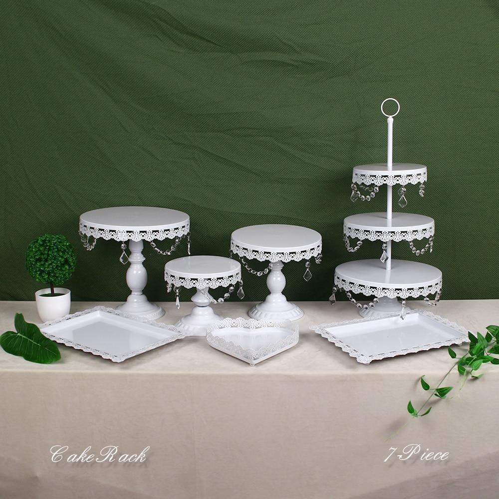 Support de gâteau en métal cristal blanc Set Cupcake Rack Dessert présentoir fête décorations de Table de mariage