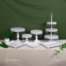 цены White Crystal Metal Cake Stand Set Cupcake Rack Dessert Display Holder Party Wedding Table Decorations
